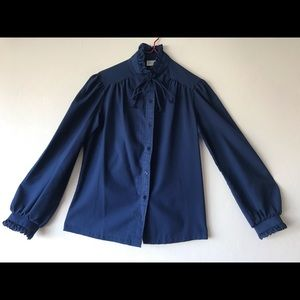 Vintage JCPenny Fashions Navy Blue Blouse